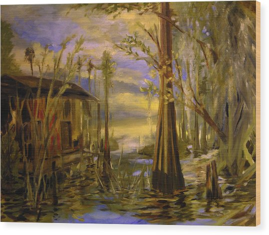 Sunlight On The Swamp Wood Print