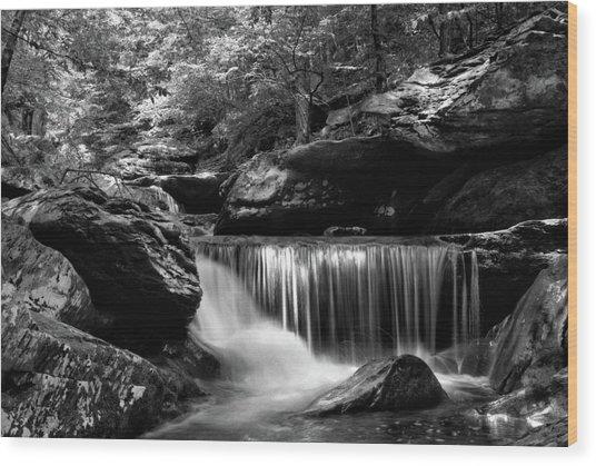 Sunlight On Waterfall Wood Print