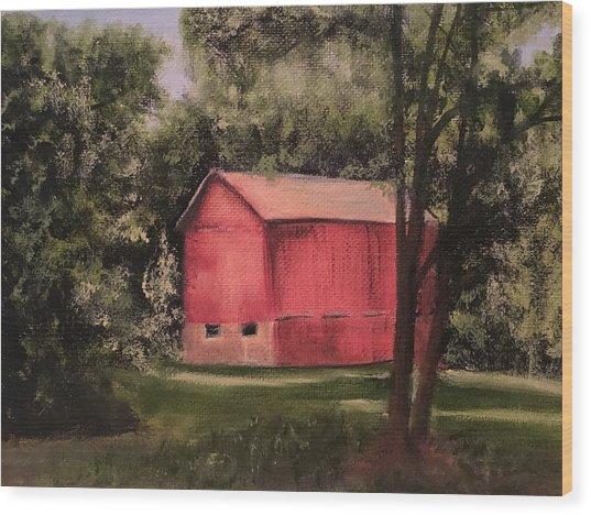 Sunlit Barn Wood Print