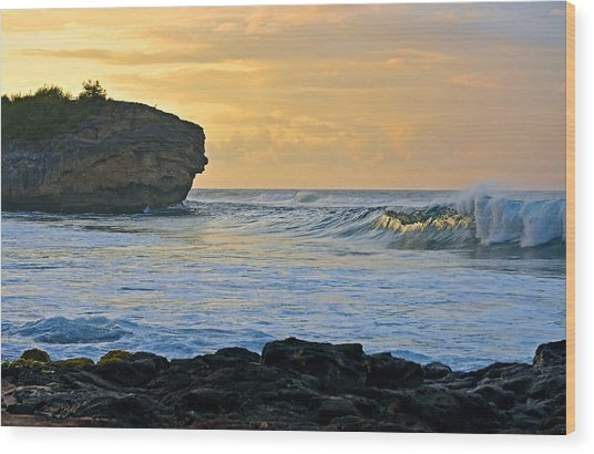 Sunlit Waves - Kauai Dawn Wood Print