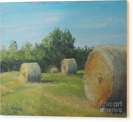 Sunner Harvest Wood Print by Mike Yazel