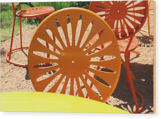 Sunny Chairs 4 Wood Print by Geoff Strehlow