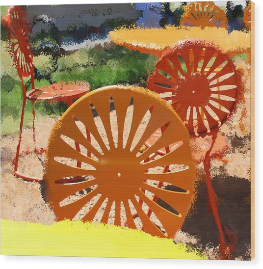 Sunny Chairs 5 Wood Print by Geoff Strehlow