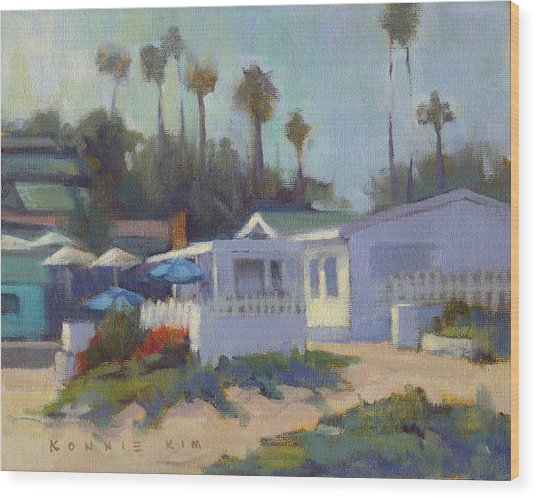 Wood Print featuring the painting Sunny Day At Crystal Cove by Konnie Kim
