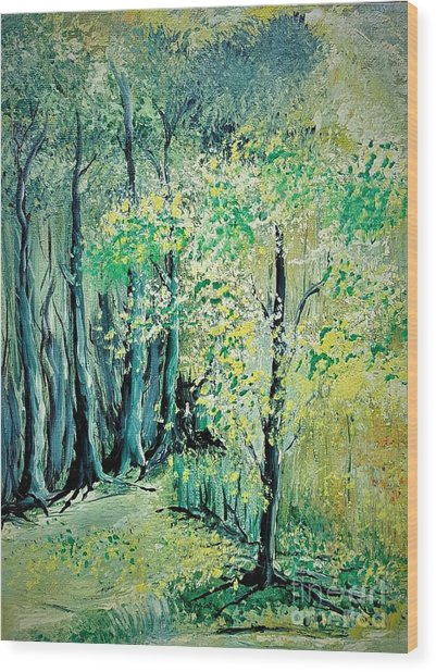 Sunny Forest Wood Print