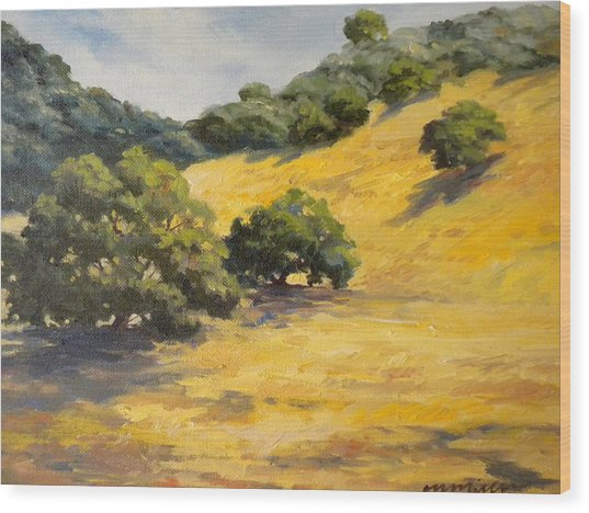 Sunny Hills Wood Print by Maralyn Miller