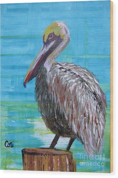 Sunny Pelican Day Wood Print
