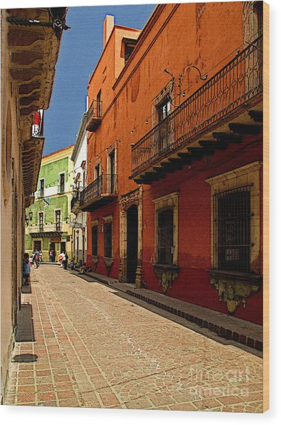 Sunny Street Wood Print by Mexicolors Art Photography
