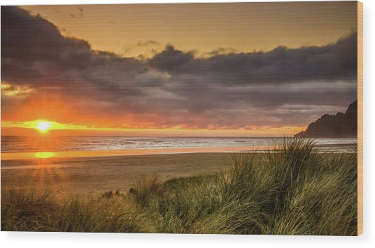 Sunrays Over Manzanita Wood Print