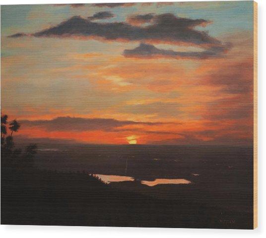 Sunrise Above Boulder Wood Print