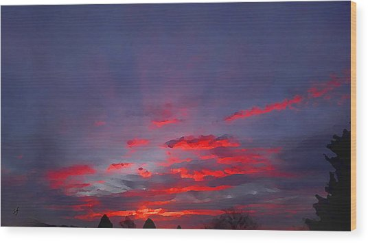 Wood Print featuring the digital art Sunrise Abstract, Red Oklahoma Morning by Shelli Fitzpatrick