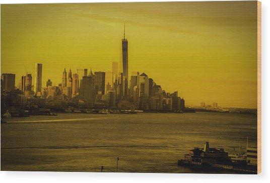 Sunrise Across The Hudson Wood Print