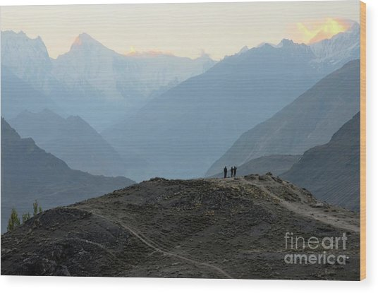 Sunrise Among The Karakoram Mountains In Hunza Valley Pakistan Wood Print