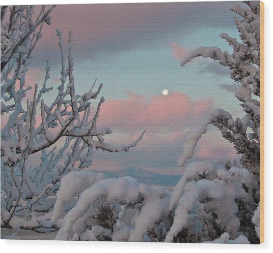 Sunrise And Moon-set Over Lake Boyd Wood Print