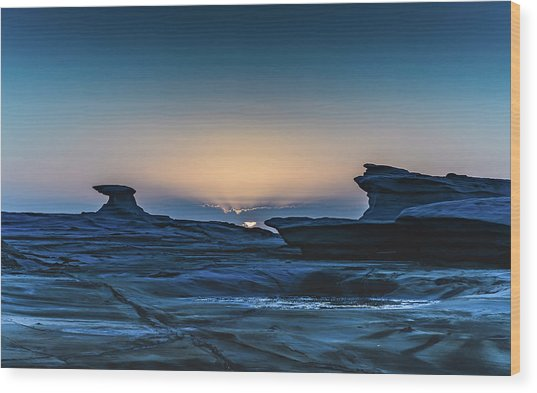 Sunrise And Rock Platform Landscape Wood Print