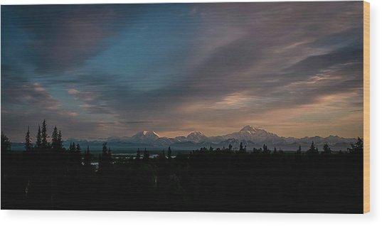Sunrise And The Alaska Range Wood Print