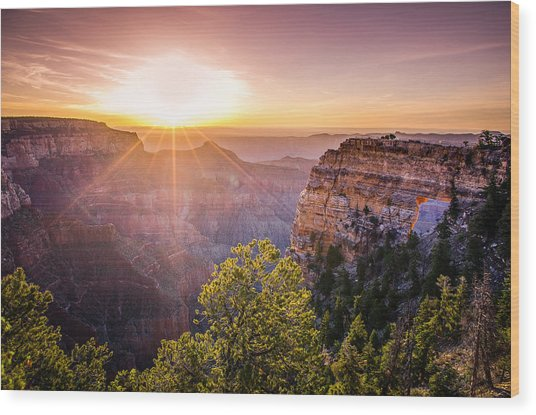 Sunrise At Angel's Window Grand Canyon Wood Print