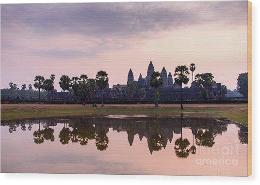 Sunrise At Angkor Wat Wood Print