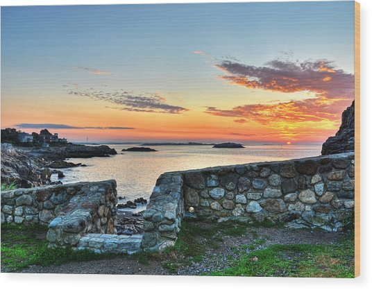 Sunrise At Castle Rock Marblehead Ma Wood Print