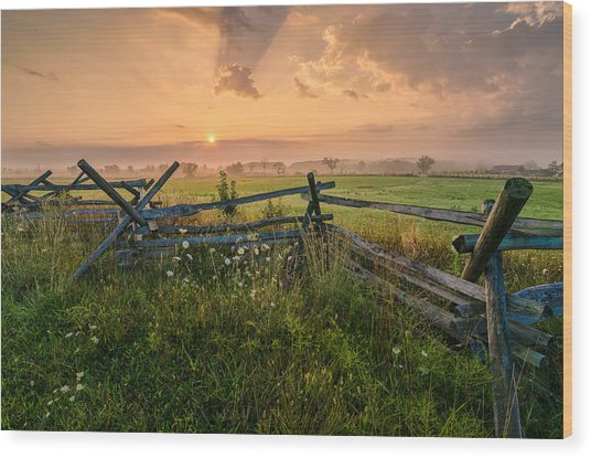 Sunrise At Gettysburg National Park Wood Print