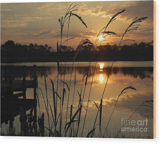 Sunrise At Grayton Beach Wood Print