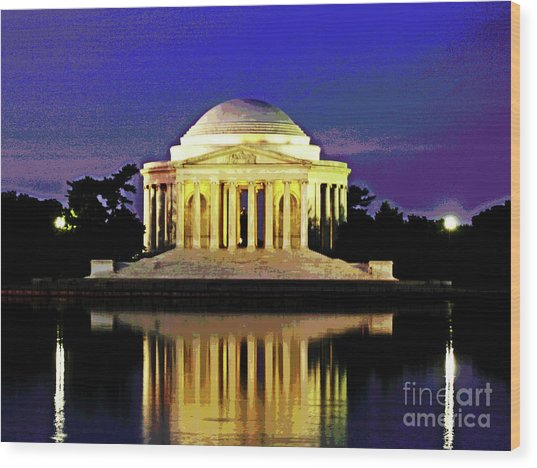 Sunrise At Jefferson Memorial Wood Print