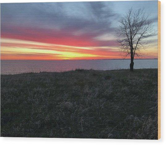 Sunrise At Lake Sakakawea Wood Print