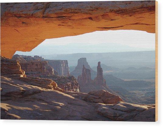 Sunrise At Mesa Arch Wood Print