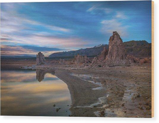 Sunrise At Mono Lake Wood Print