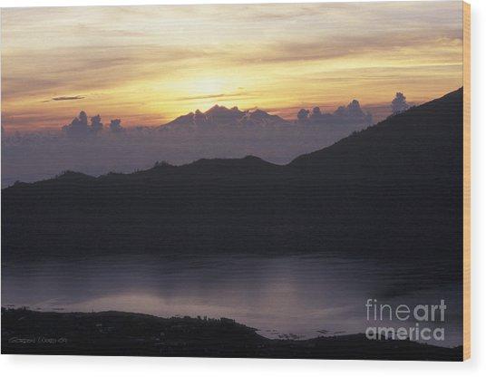 Sunrise At Mount Batur Bali Indonesia Wood Print by Gordon Wood