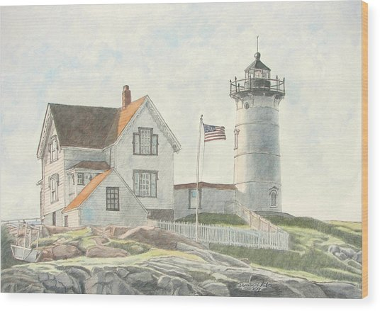 Sunrise At Nubble Light Wood Print