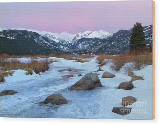 Sunrise At Rocky Mountain National Park Wood Print
