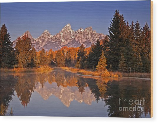 Sunrise At Schwabacher Landing  Wood Print