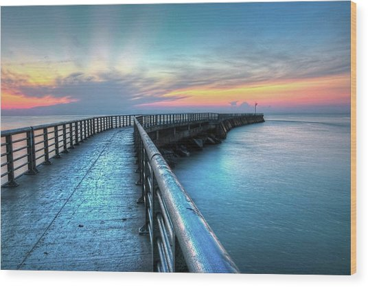 Sunrise At Sebastian Inlet Wood Print