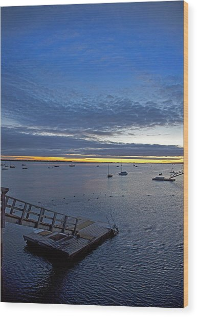 Sunrise At The Barnstable Yacht Club Wood Print
