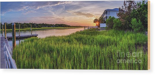 Sunrise At The Boat Ramp Wood Print