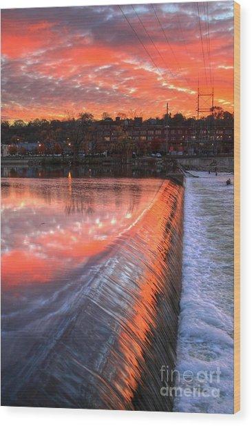 Sunrise At The Dam Wood Print