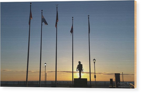 Sunrise At The Firefighters Memorial Wood Print