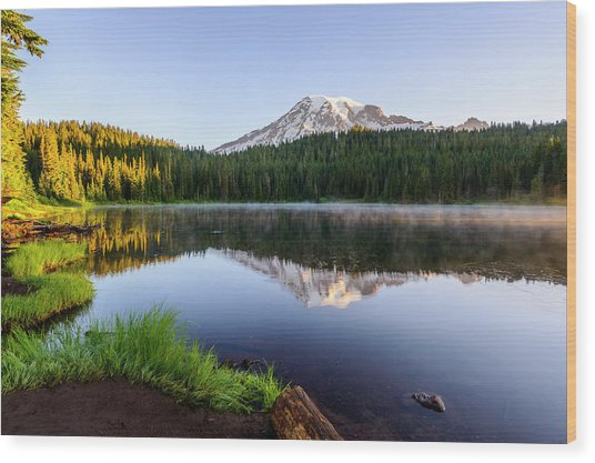 Mount Rainier Viewed From Reflection Lake Wood Print