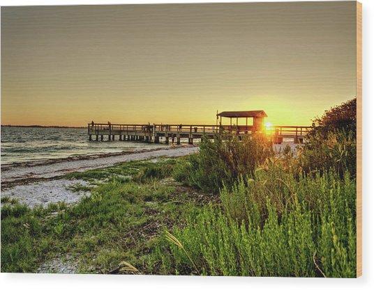 Sunrise At The Sanibel Island Pier Wood Print