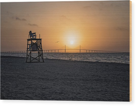 Sunrise At The Skyway Bridge Wood Print