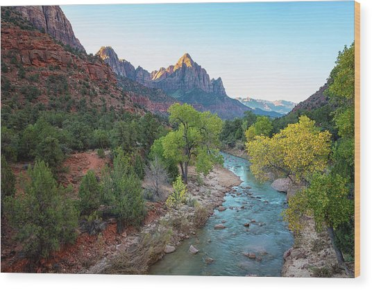 Sunrise At The Watchman - Zion National Park - Utah Wood Print