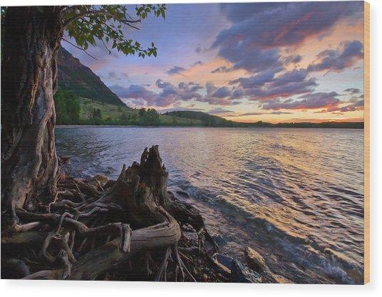 Sunrise At Waterton Lakes Wood Print