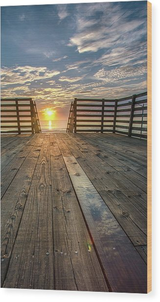 Sunrise Boardwalk Wood Print