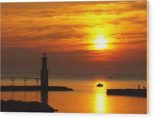 Sunrise Brushstrokes Wood Print