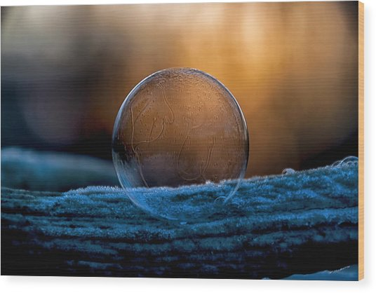 Sunrise Capture In Bubble Wood Print