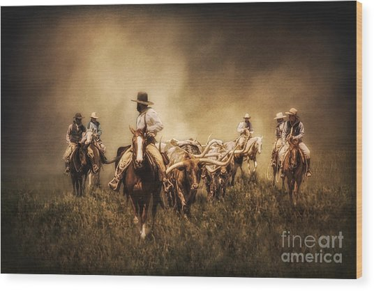 Sunrise Cattle Drive Wood Print
