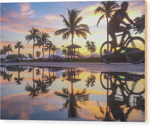 Sunrise Cyclist Delray Beach Florida Wood Print