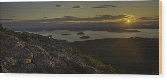 Sunrise From Cadillac Mountain Wood Print