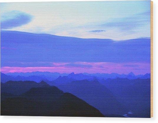 Sunrise From Pilchuck Summit Wood Print